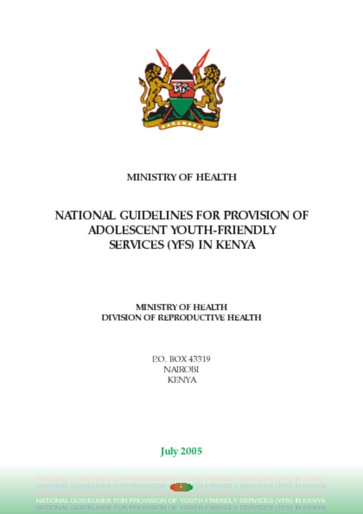 thumbnail of national guidelines for the provosion of youth friendly services