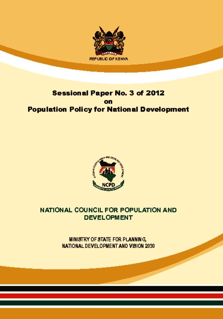 thumbnail of population policy for national development 2012 – 2030
